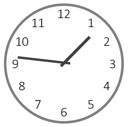 13時46分を指すアナログ時計のイラスト