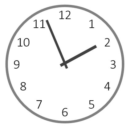 13時56分を指すアナログ時計のイラスト