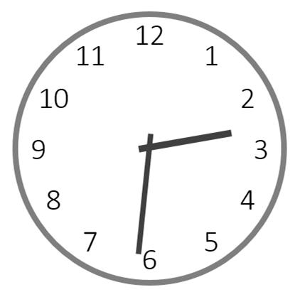 14時31分を指すアナログ時計のイラスト