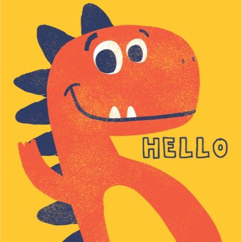 右手を挙げてこっちを見ているかわいい恐竜のイラスト