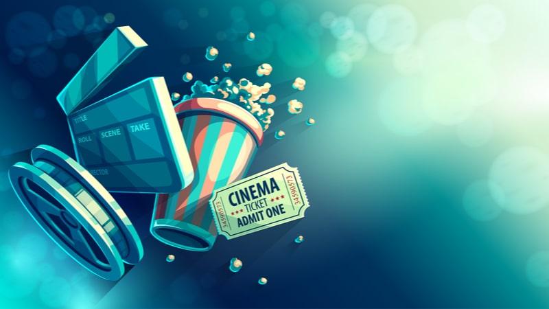 ポップコーンとフィルムと映画のチケットのイラスト