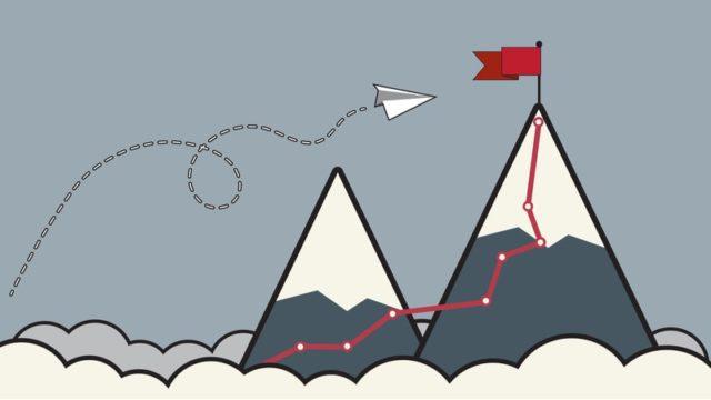 山頂に立てられた旗とそこに辿り着くまでの経路が描かれたイラスト